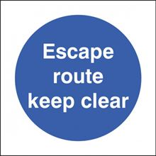 Escape Route Keep Clear - 80x80mm - SAV 21623B