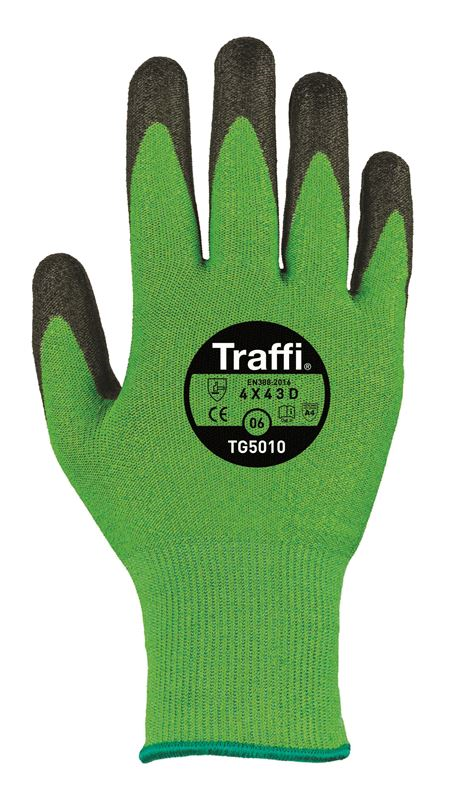 TRAFFIGLOVE 'Exact' Green PU-Coated Gloves - Cut Level 5 GL4392