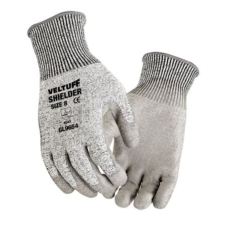 VELTUFF® 'Shielder' Grey PU-Coated Gloves - Cut Level D (5) GL9654