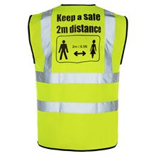 Hi Vis Vest with back 2m distancing CV19 HV2021