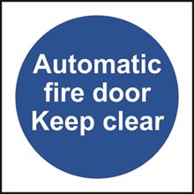 Automatic fire door Keep clear - 100x100mm - RPVC SK11337