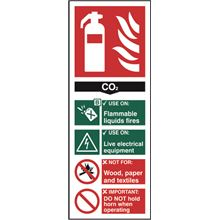 CO2 Fire Extinguisher Sign - 82x202mm - SAV SK12310