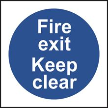 Fire Exit Keep Clear - 100x100mm - SAV SK12574