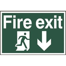 Fire Exit Sign - Arrow Down - 300x200mm - PVC SK1503