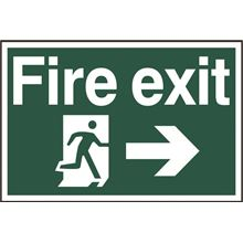 Fire Exit Sign - Arrow Right - 300x200mm - PVC SK1504