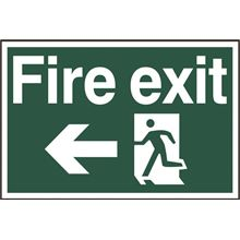 Fire Exit Sign- Arrow Left - 300x200mm - PVC SK1506