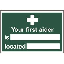 Your First Aider And Location Sign - 300x200mm - PVC SK1551